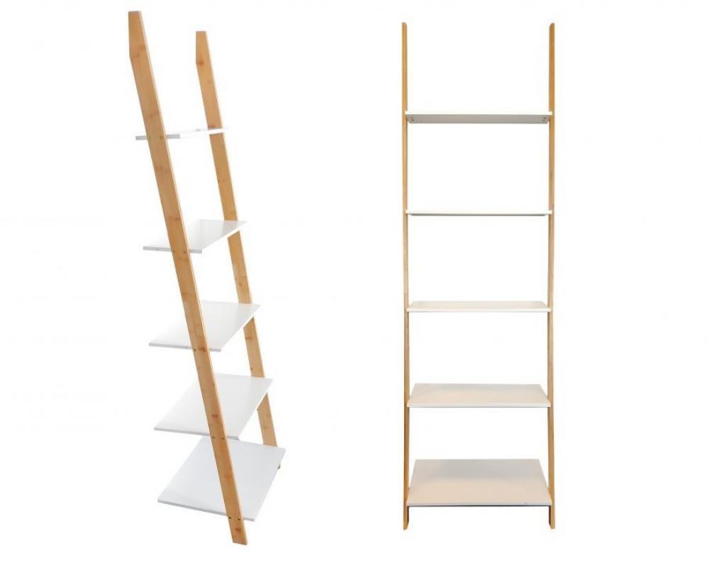 Produktové foto MODERNHOME Bambusový regál Goddy bílo-hnědý