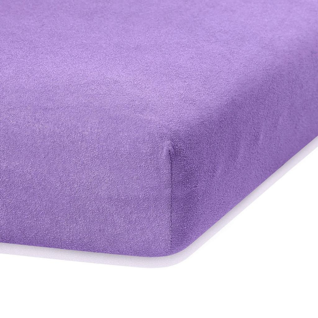 Produktové foto Fialové elastické prostěradlo s vysokým podílem bavlny AmeliaHome Ruby, 100/120 x 200 cm