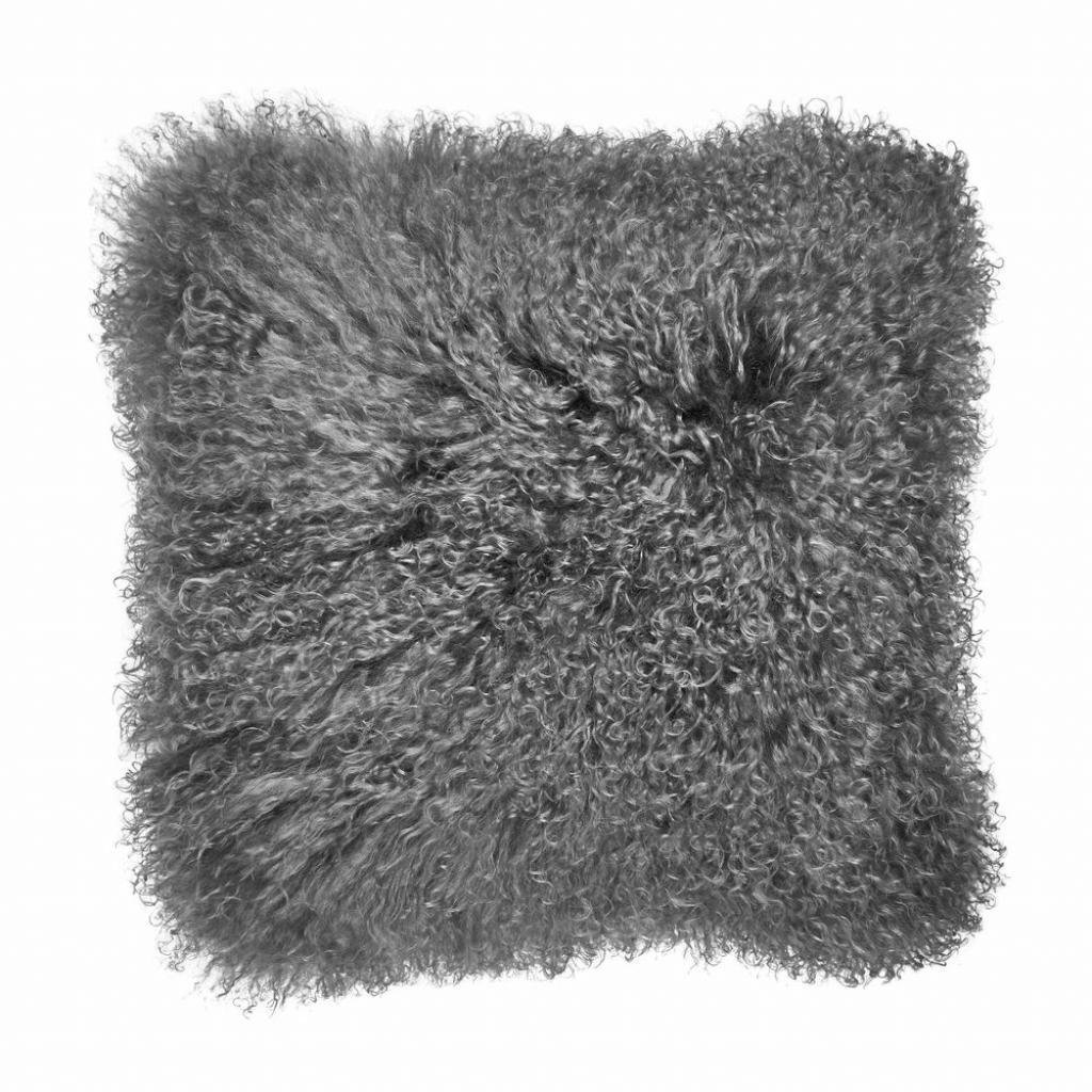 Produktové foto TASHI Polštář z tibetské jehněčí kůže 40 x 40 cm - šedá