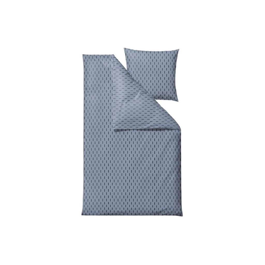 Produktové foto Modré povlečení na jednolůžko z ranforce bavlny Södahl Graphic,140x200cm