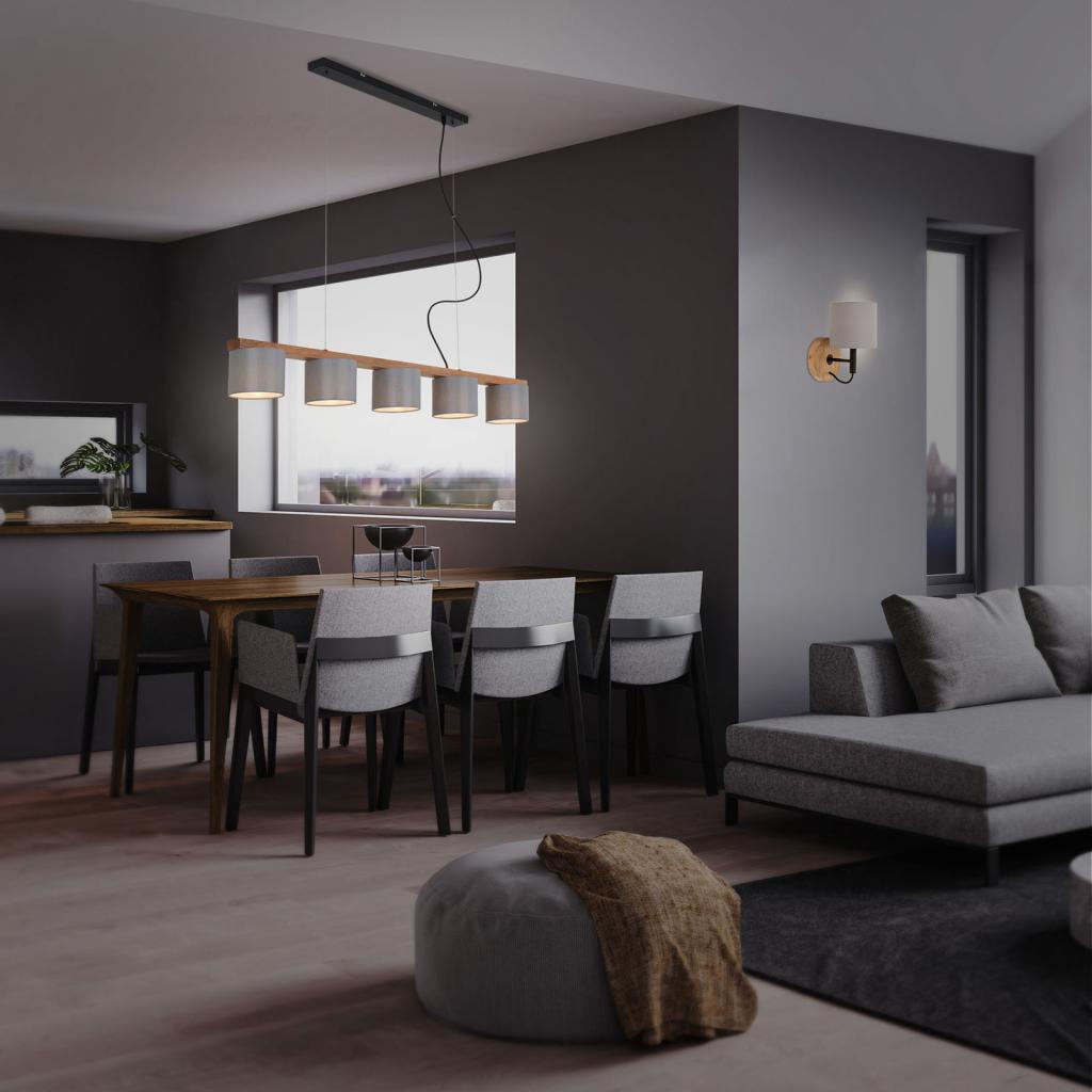Produktové foto Briloner Závěsné světlo Wood & Style 4075, pět zdrojů
