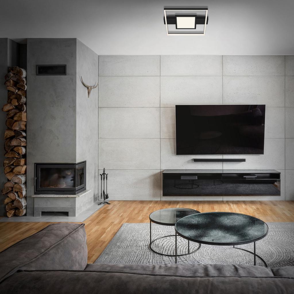 Produktové foto Briloner LED stropní světlo 3028 hranaté, černá, dva zdroje