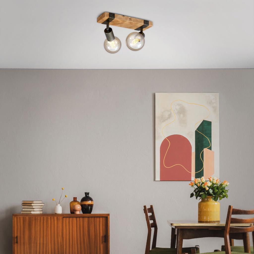 Produktové foto Briloner Stropní světlo Wood Basic, dva zdroje