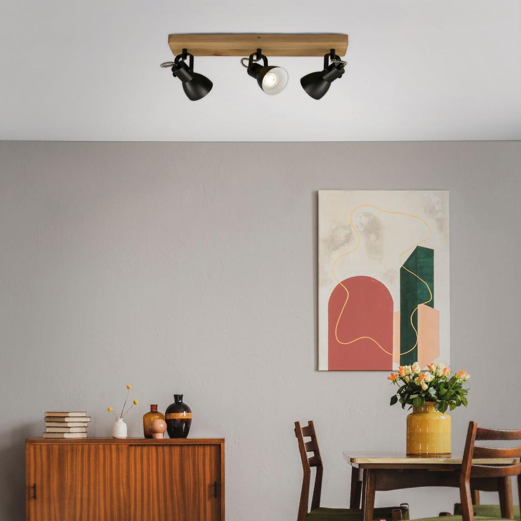 Produktové foto Briloner Stropní reflektor Arbo s dřevěným prvkem, 3 zdroje
