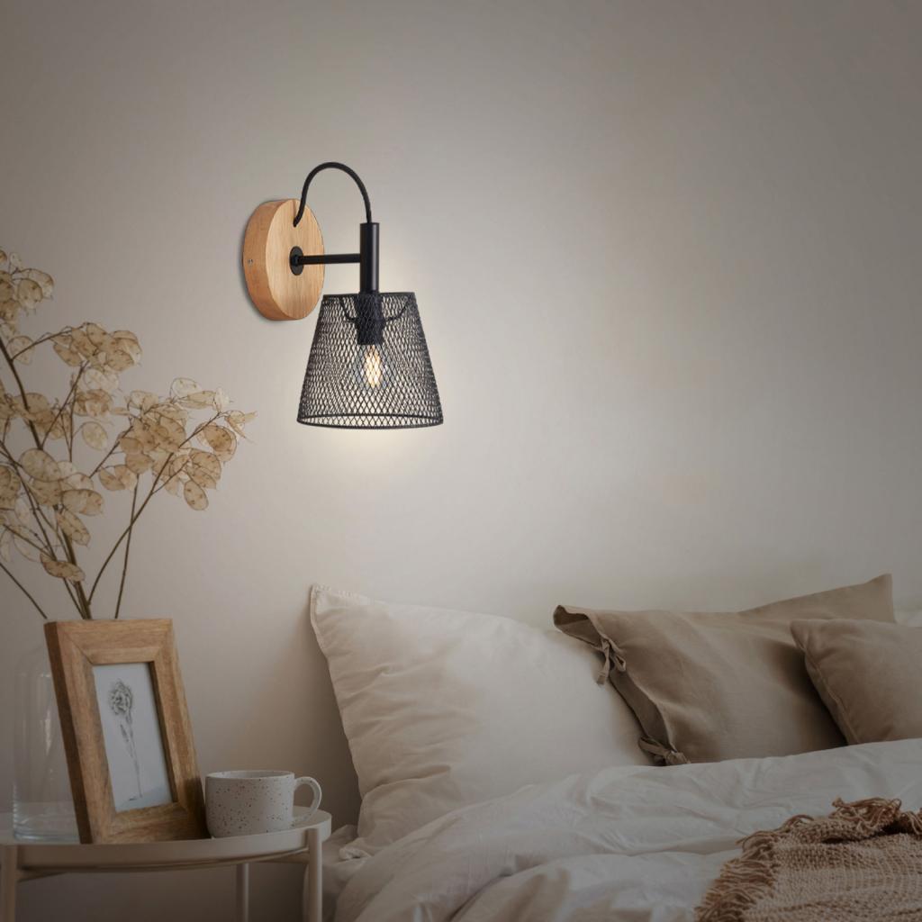 Produktové foto Briloner Wood & Style 2077 nástěnné světlo, kovové stínidlo
