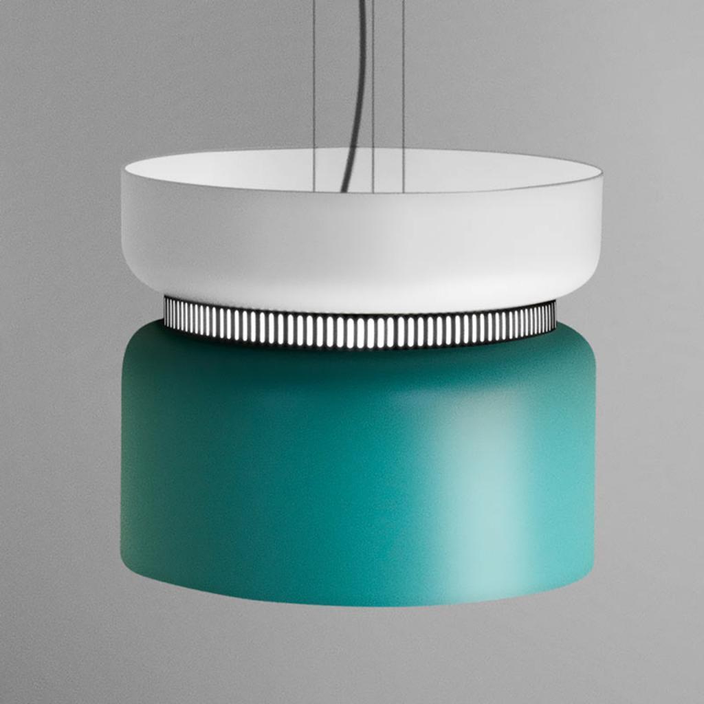 Produktové foto B.lux LED závěsné světlo Aspen S, bílá tyrkysová 40 cm