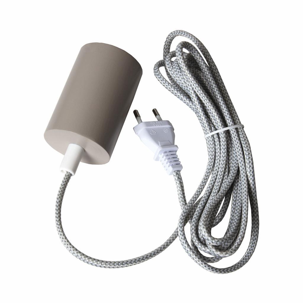 Produktové foto Best Season E27 patice Slim s kabelem, šedá