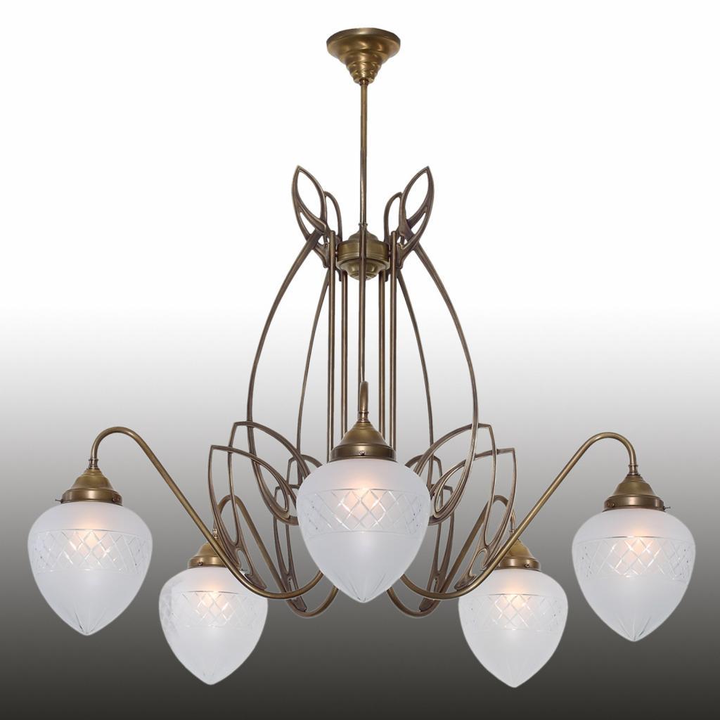 Produktové foto Berliner Messinglamp Pauline - 5zdrojové závěsné světlo z mosazi