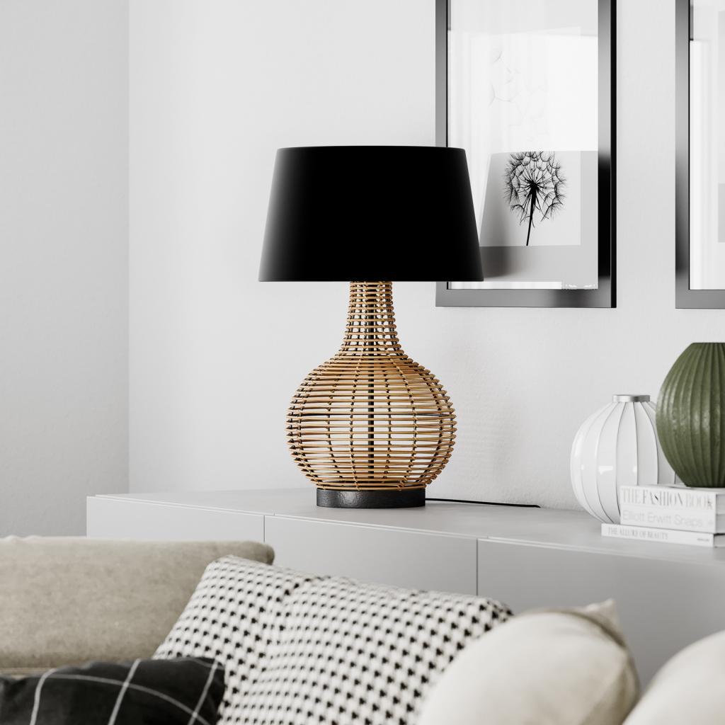 Produktové foto By Rydéns By Rydéns Granada stolní lampa, ratan a látka