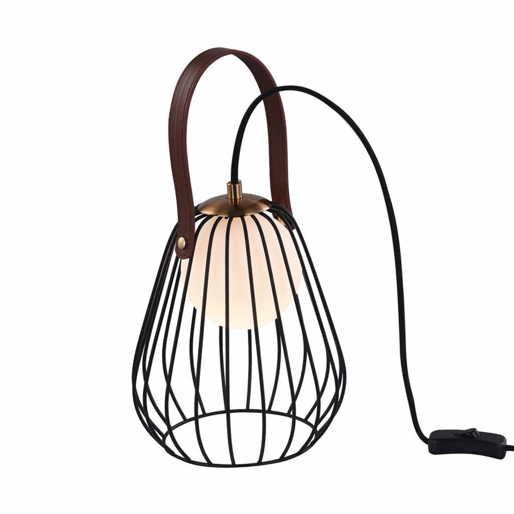 Produktové foto Maytoni Stolní lampa Indiana s klecovým stínidlem, černá