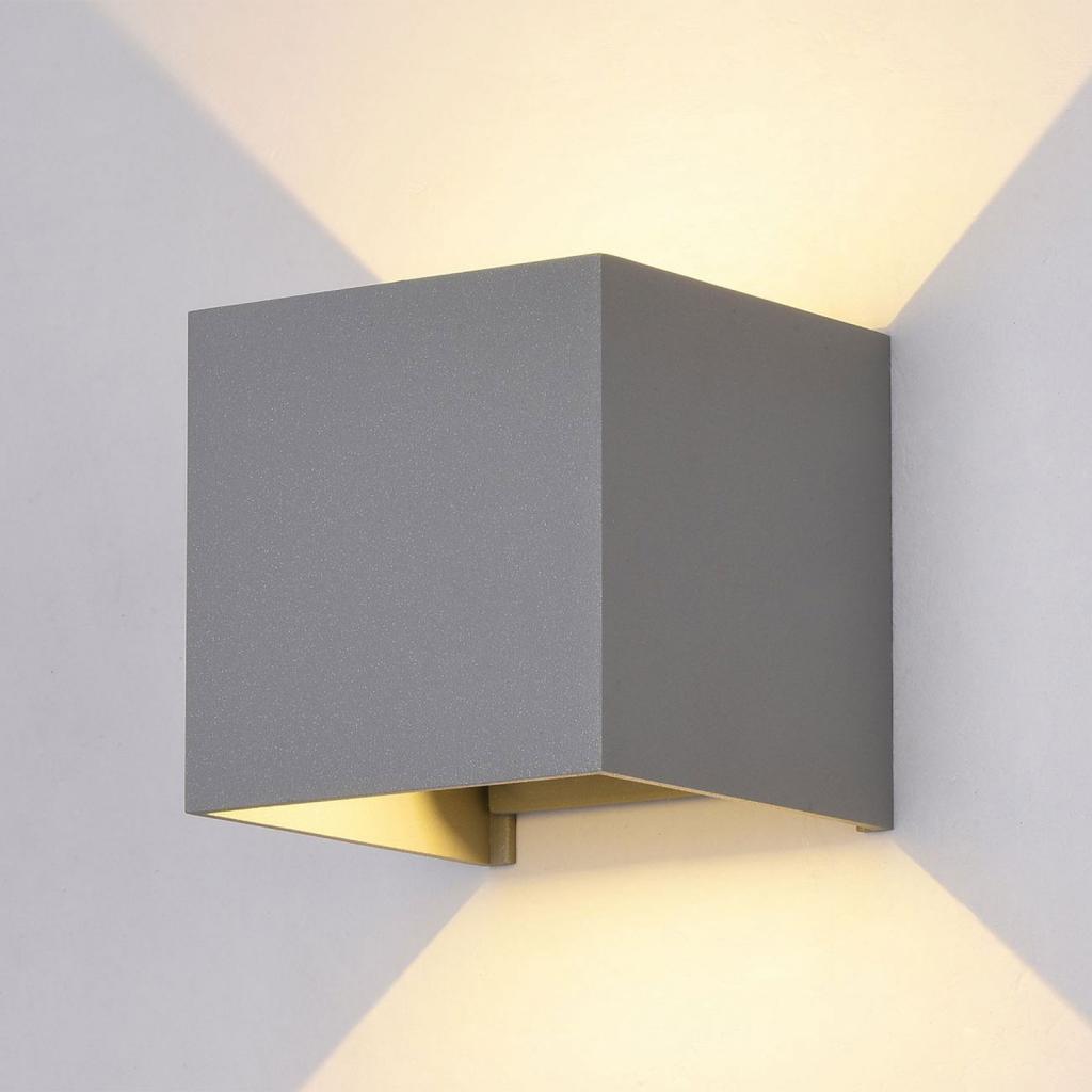 Produktové foto Maytoni LED venkovní nástěnné světlo Fulton, 10x10cm, šedá