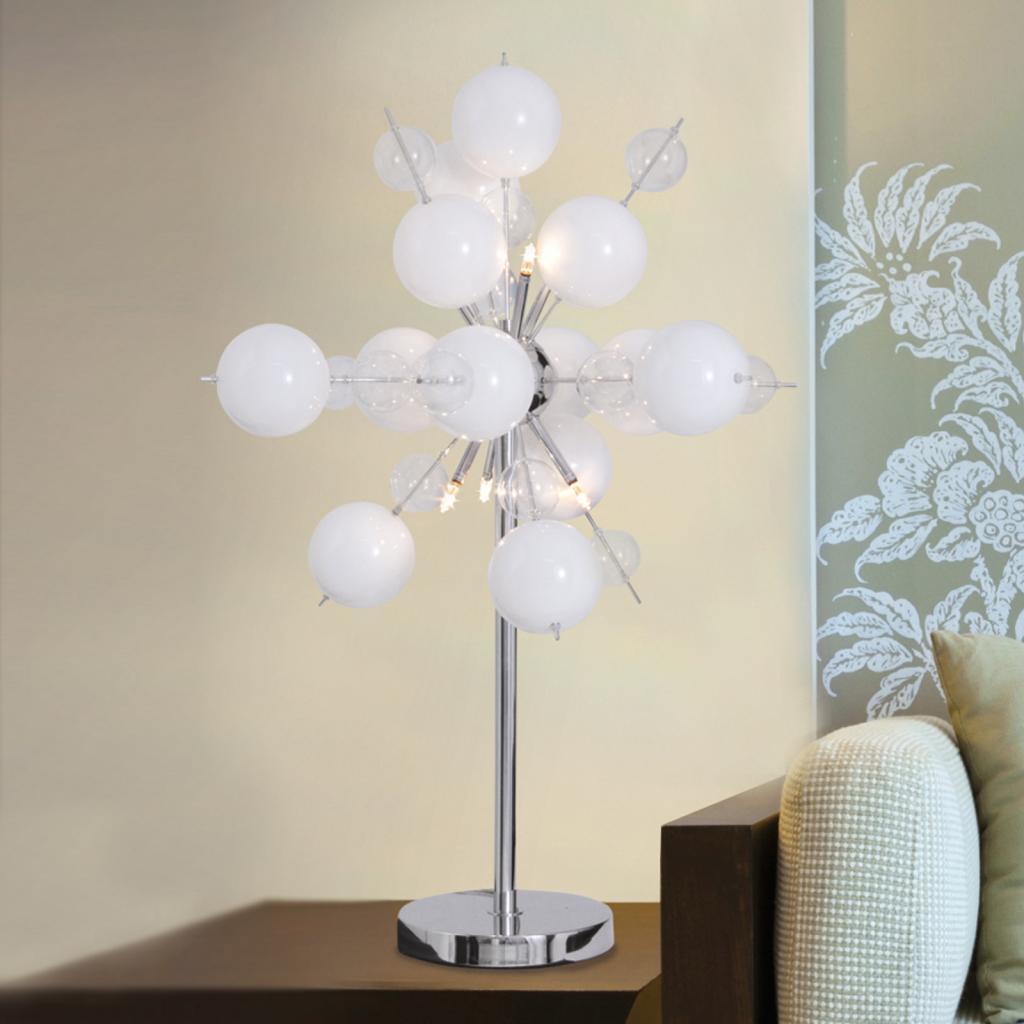 Produktové foto Näve Stolní lampa Explosion v bílé/chrom