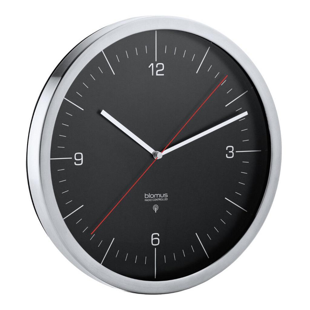 Produktové foto Nástěnné hodiny rádiově řízené RONO černé O 24 cm Blomus