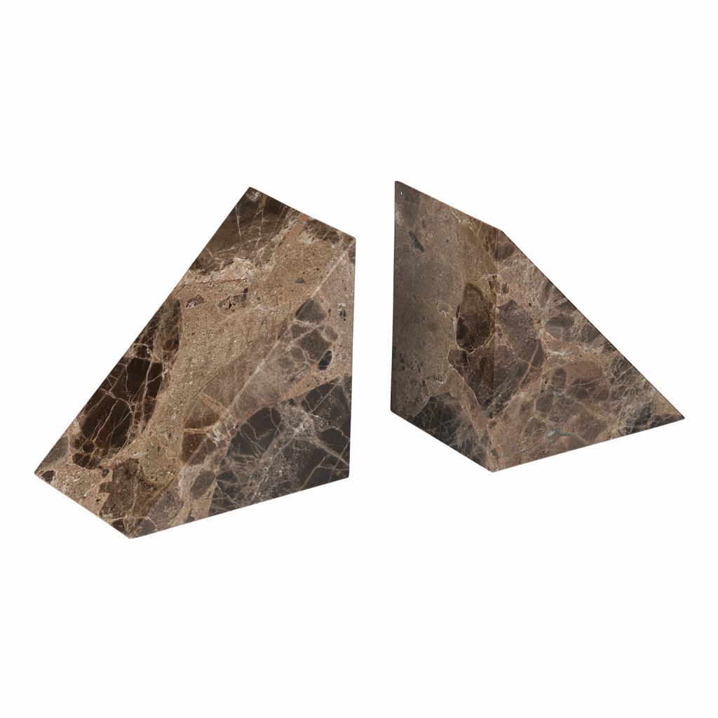 Produktové foto Knižní zarážky mramorové 2 kusy PESA hnědé Blomus