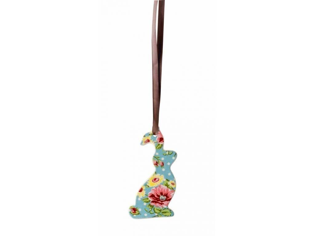 Produktové foto Ozdoba Velikonoční zajíček Springtime Flowers Turkis Rosenthal 8,5x4,5 cm