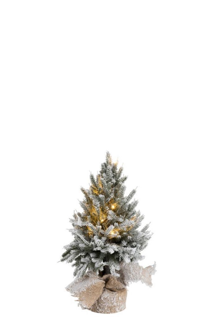 Produktové foto J-Line by Jolipa Zasněžený vánoční stromek v jutě se světýlky - Ø 17*45cm
