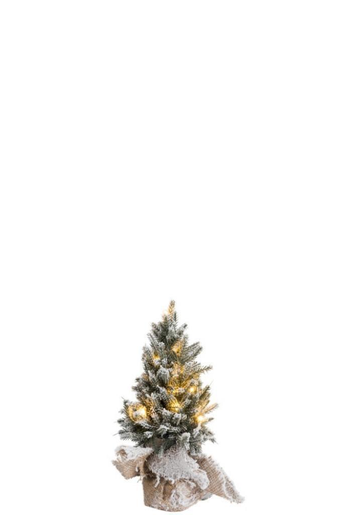 Produktové foto J-Line by Jolipa Zasněžený vánoční stromek v jutě se světýlky - Ø 14*30cm
