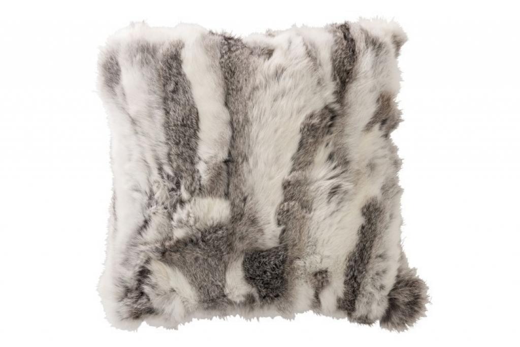 Produktové foto J-Line by Jolipa Kožený polštář králičí kůže s výplní -  40*40*15cm