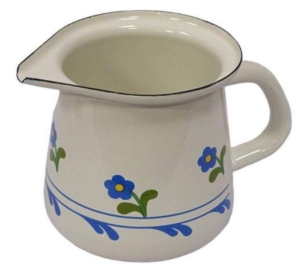 Produktové foto Münder Email Krémová květinová smaltovaná mlékovka s květy Flower -11,5cm - 0.4L