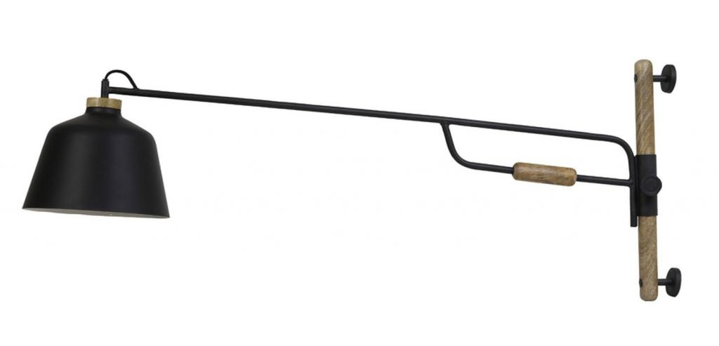 Produktové foto Light & Living Černá kovová nástěnná lampa se dřevem Banu - 120*25*45 cm