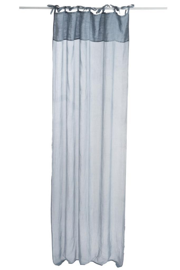 Produktové foto J-Line by Jolipa Modrý bavlněný voál / záclona na zavazování - 140*290cm