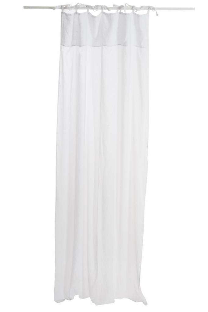 Produktové foto J-Line by Jolipa Bílý bavlněný voál / záclona na zavazování - 140*290cm