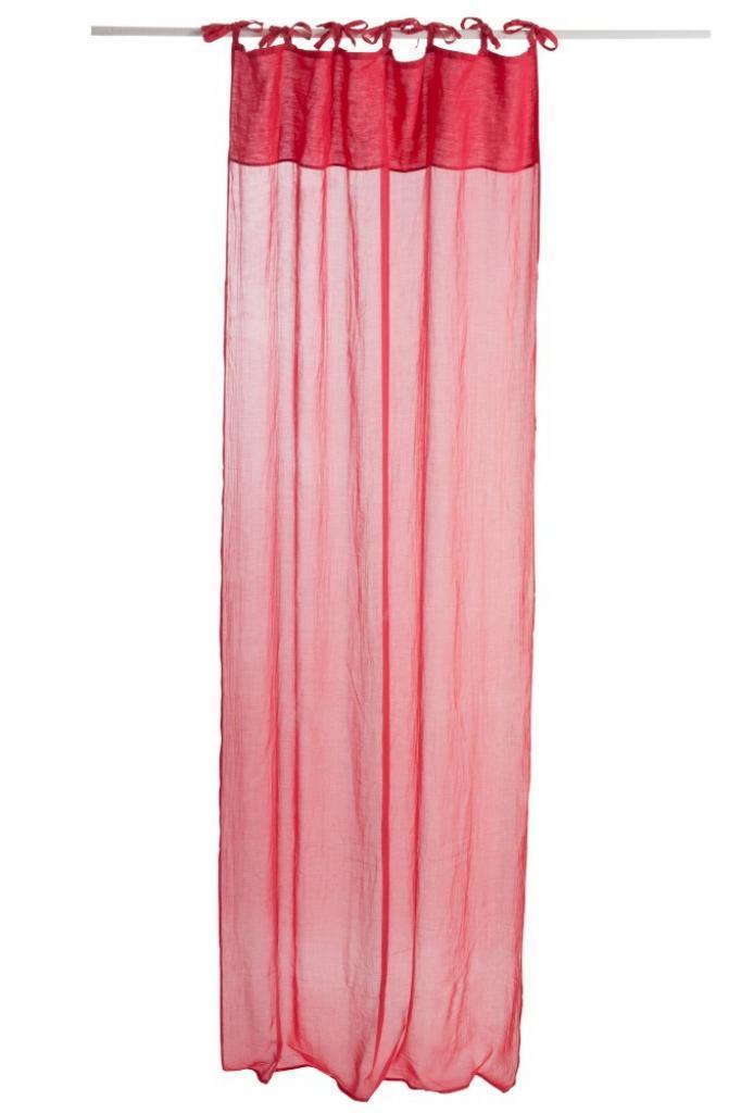 Produktové foto J-Line by Jolipa Červený bavlněný voál / záclona na zavazování - 140*290cm
