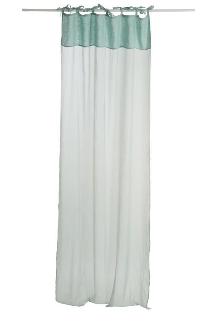 Produktové foto J-Line by Jolipa Mintový bavlněný voál / záclona na zavazování - 140*290cm