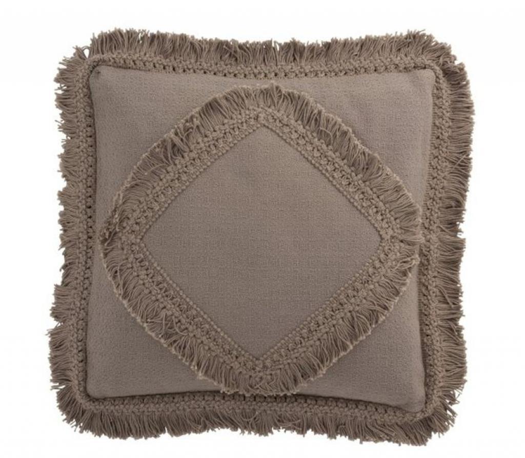 Produktové foto J-Line by Jolipa Taupe bavlněný polštář Fransen s třásněmi - 45*45 cm