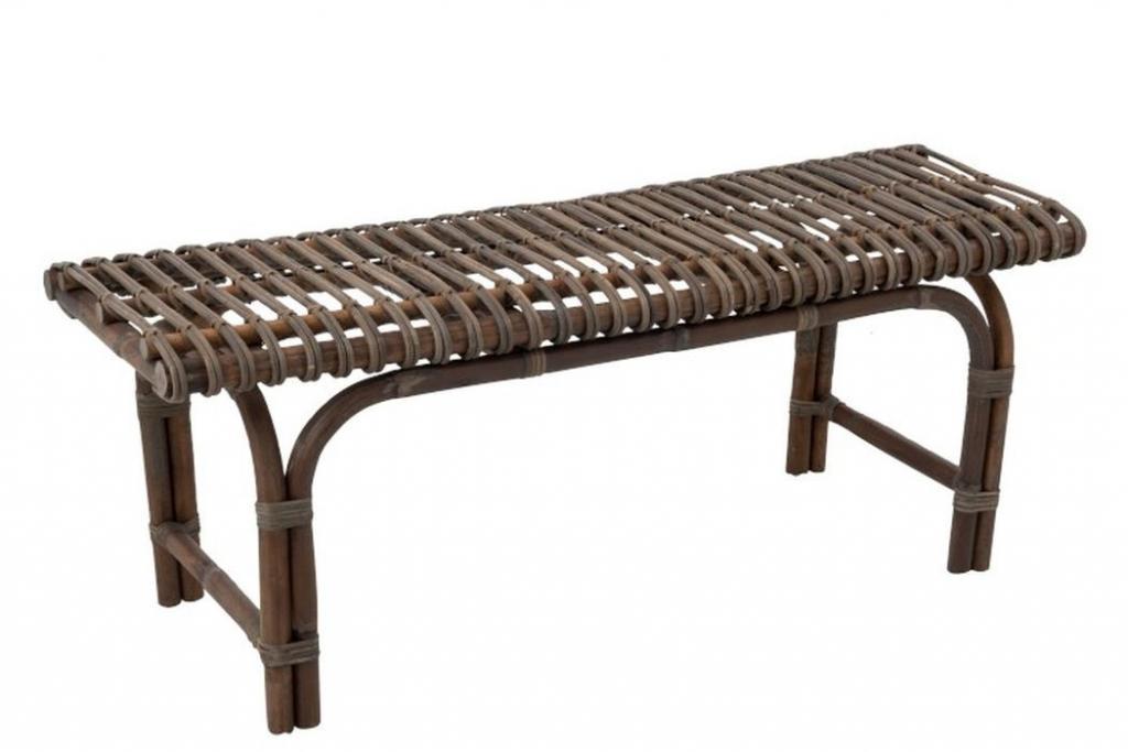 Produktové foto J-Line by Jolipa Hnědá ratanová lavice George - 120*42*45 cm