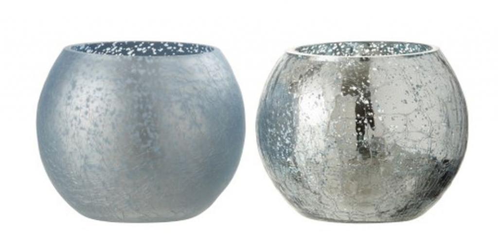 Produktové foto J-Line by Jolipa 2ks modrý svícen na čajovou svíčku s popraskáním - Ø 12*10cm