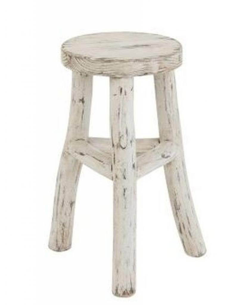 Produktové foto J-Line by Jolipa Dřevěná bílá kulatá stolička Ibiza - Ø 26*50cm
