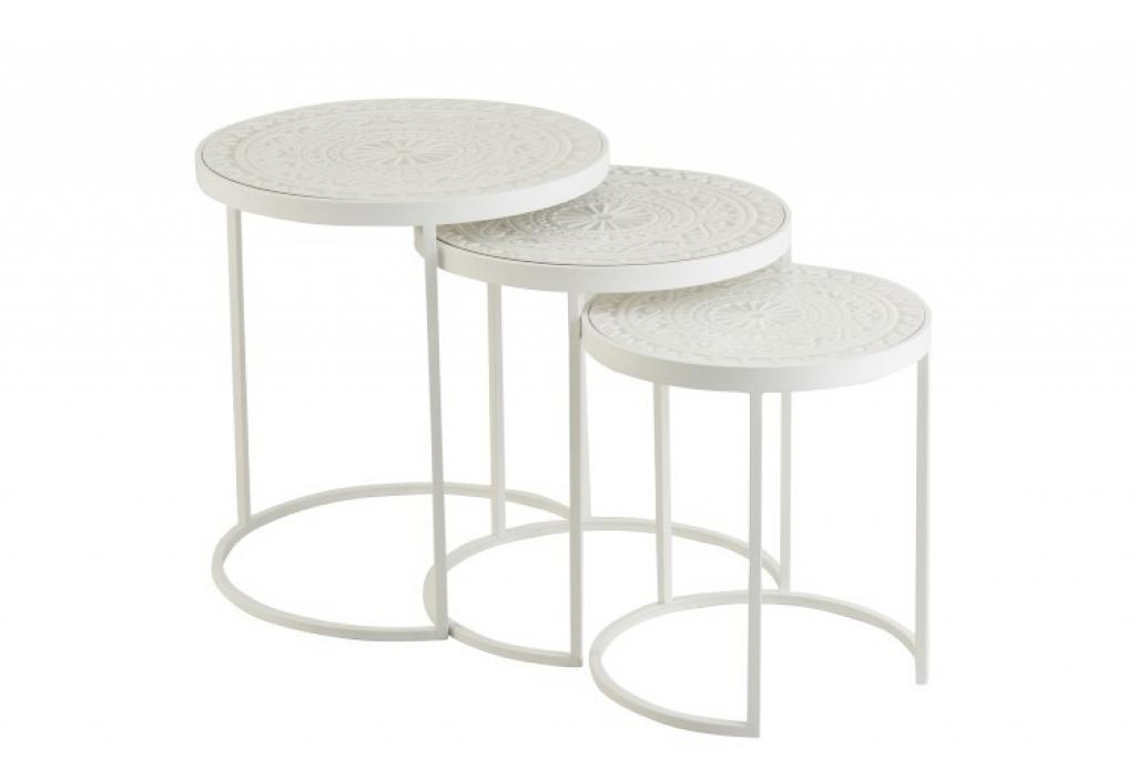 Produktové foto J-Line by Jolipa Set 3 bílých kovových stolků s ornamentovou deskou - Ø46*50 cm