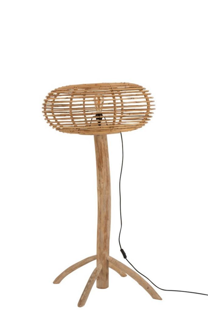 Produktové foto J-Line by Jolipa Přírodní ratanová stojací lampa Teak - 77*70*134cm