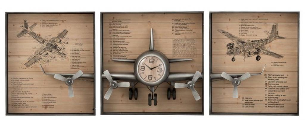 Produktové foto J-Line by Jolipa 3 dřevěné nástěnné desky s hodinami a 3D letadlem - 207*12*75 cm