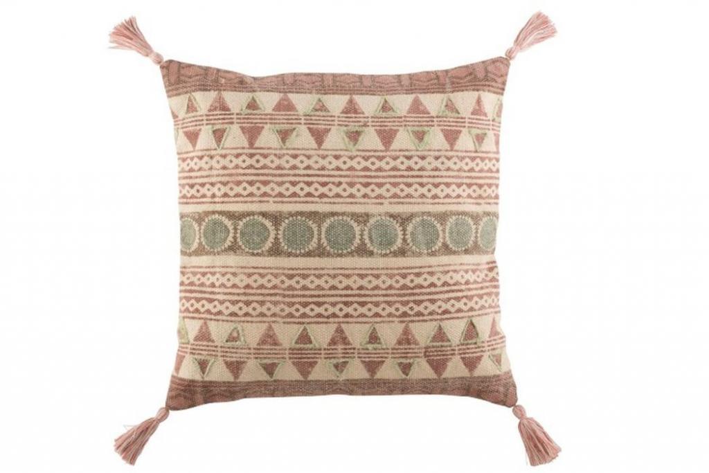 Produktové foto J-Line by Jolipa Růžový bavlněný polštář Indian se střapci I - 50*50 cm