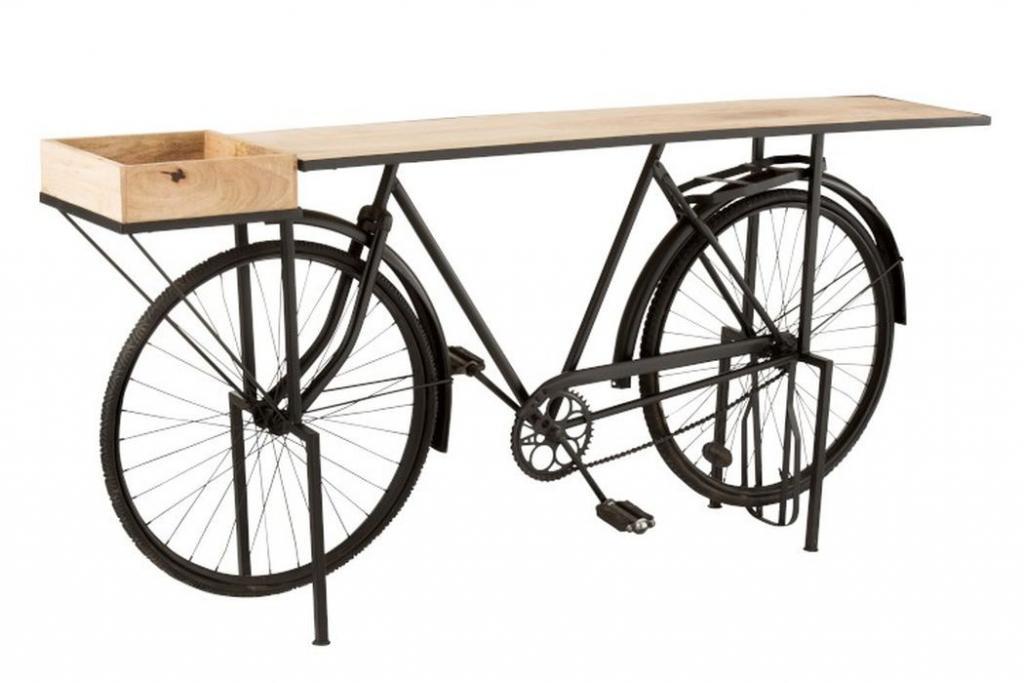 Produktové foto J-Line by Jolipa Černý konzolový stolek retro kolo Bicycle - 190*36*84cm