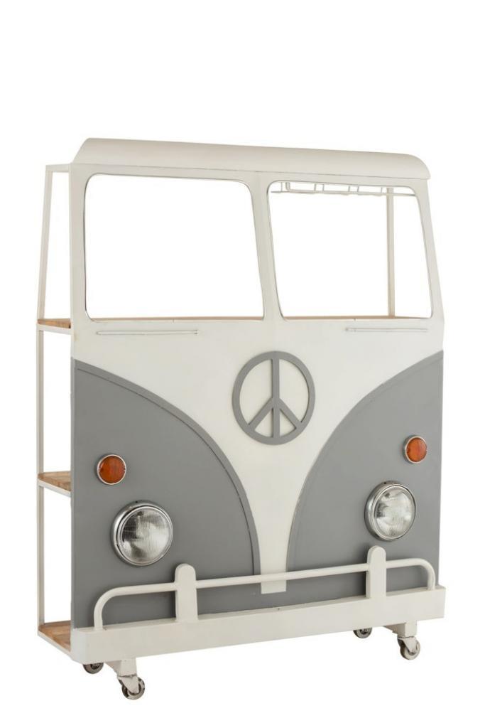 Produktové foto J-Line by Jolipa Bar s vinotékou šedé auto Hippie nakolečkách - 137*41*175 cm