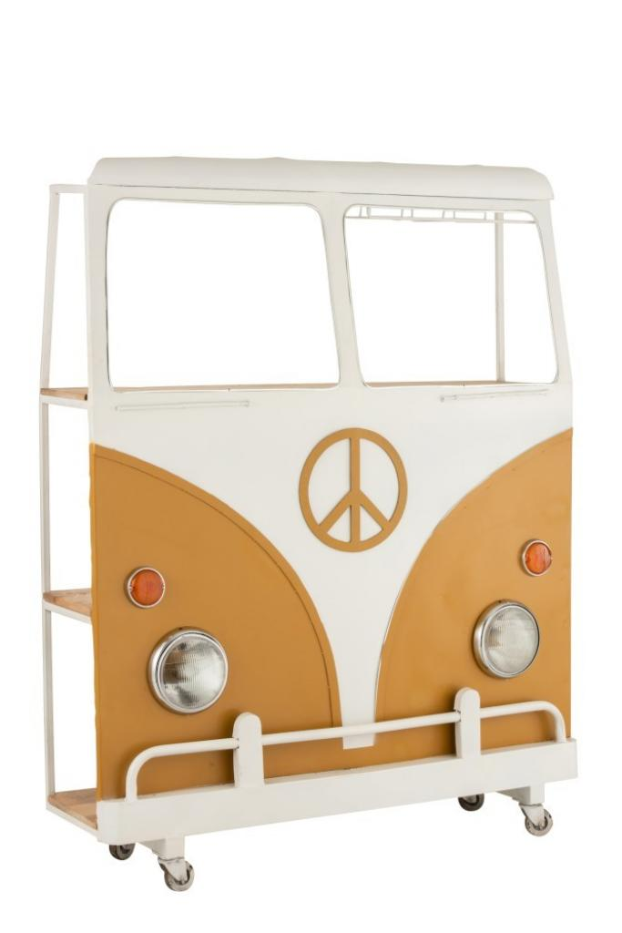Produktové foto J-Line by Jolipa Bar s vinotékou okrové auto Hippie na kolečkách - 137*41*175 cm