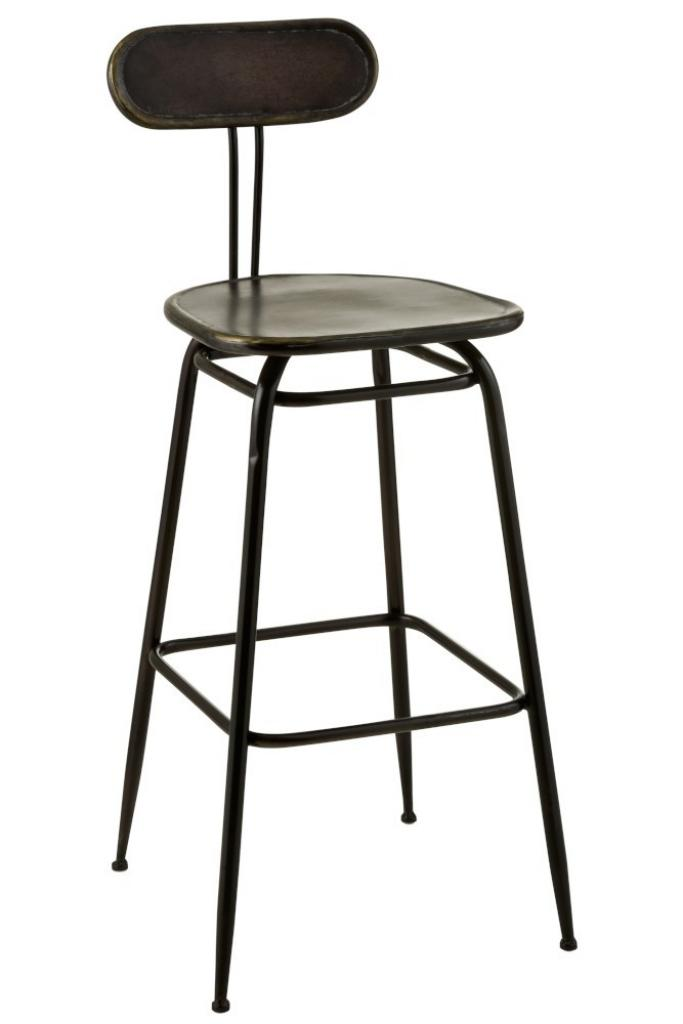 Produktové foto J-Line by Jolipa Černá kovová barová stolička s opěrkou Industrial - 45*46* 104cm
