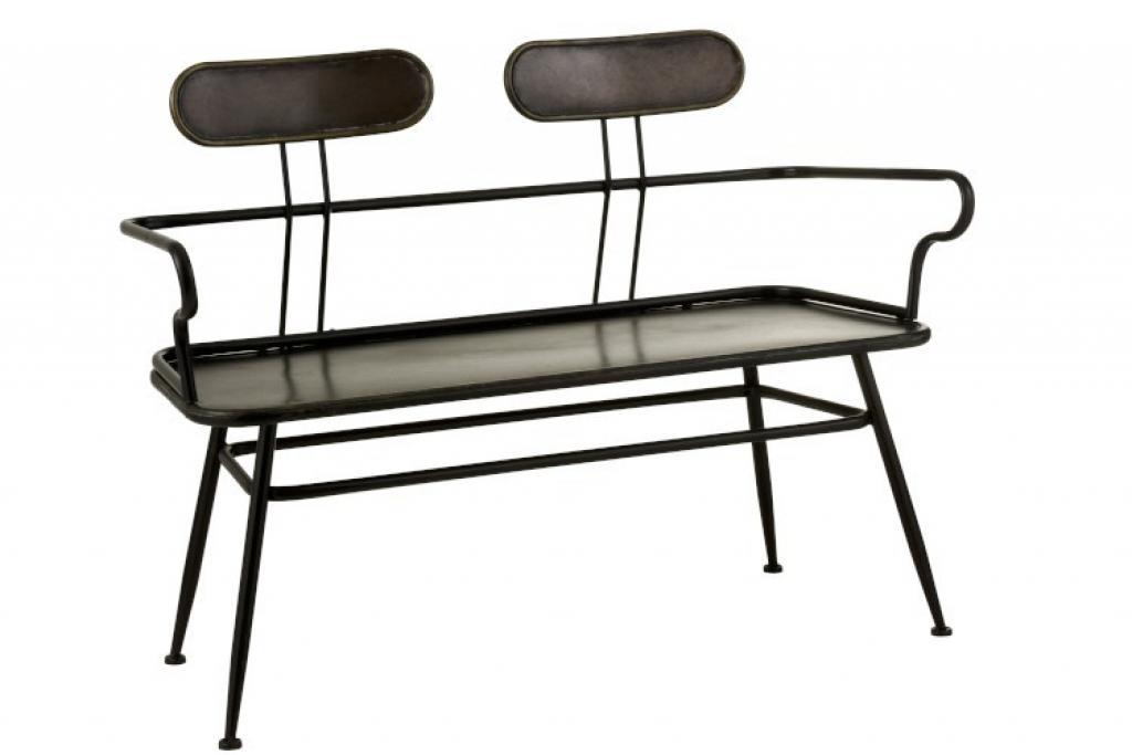 Produktové foto J-Line by Jolipa Černá kovová lavice s opěrkami Industrial - 116*55*88cm