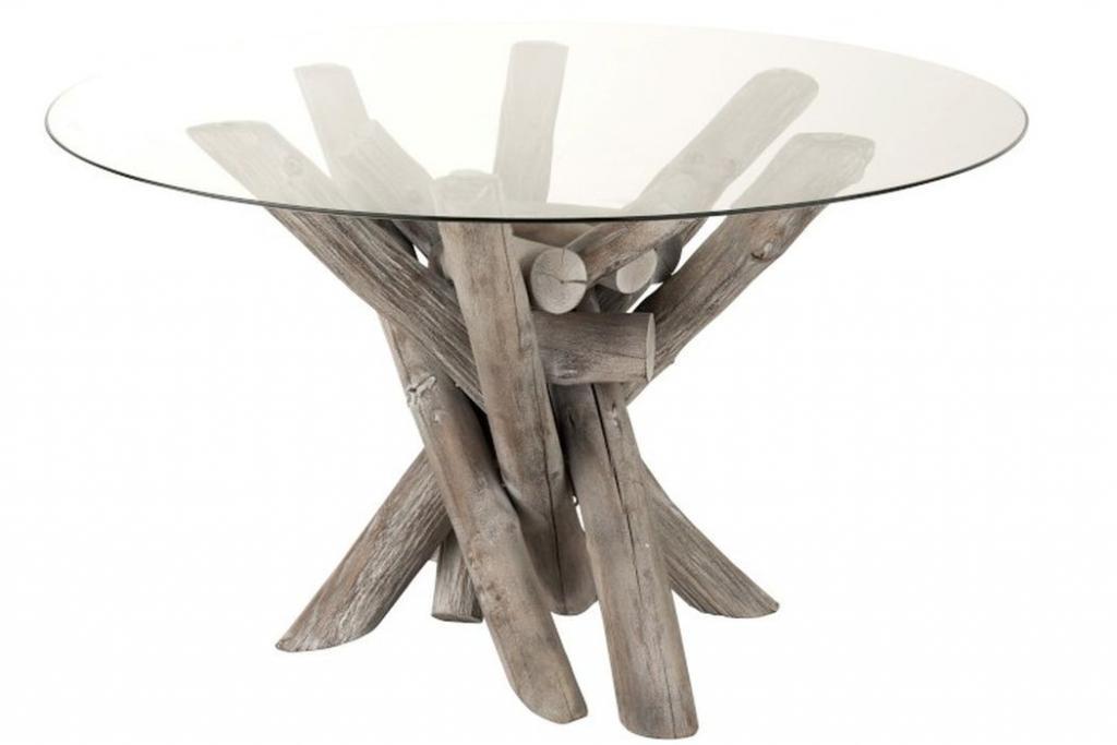 Produktové foto J-Line by Jolipa Jídelní kulatý dřevěný stůl se skleněnou deskou Branchy - Ø128*75 cm