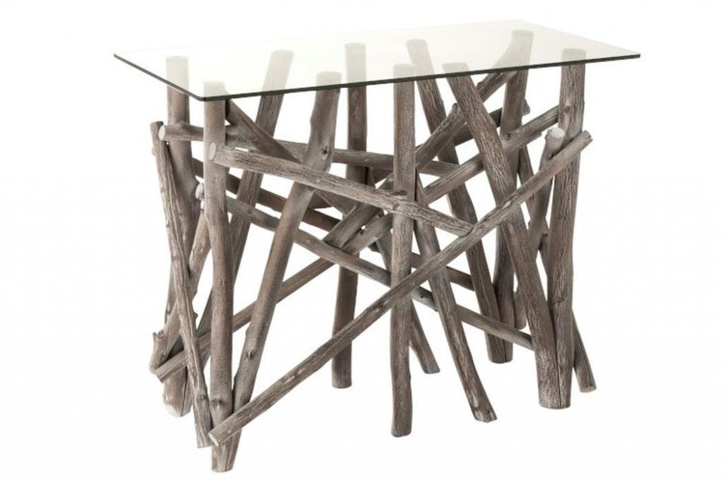 Produktové foto J-Line by Jolipa Konzolový dřevěný stůl se skleněnou deskou Branchy - 97*45*78 cm