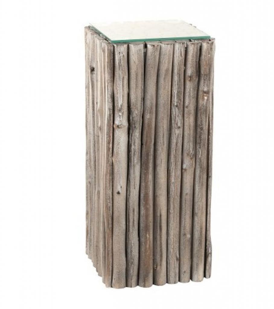 Produktové foto J-Line by Jolipa Odkládací dřevěný stůl se skleněnou deskou Branchy - 33*33*75 cm