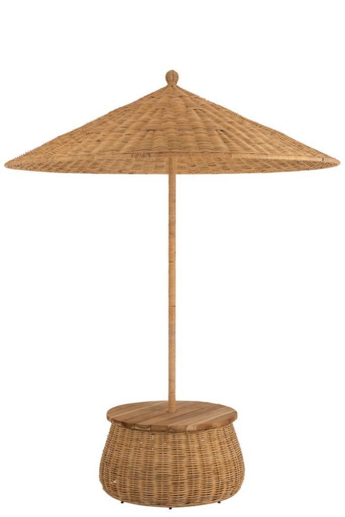 Produktové foto J-Line by Jolipa Ratanový slunečník se stolkem a úložným prostorem - ∅ 200*293 cm