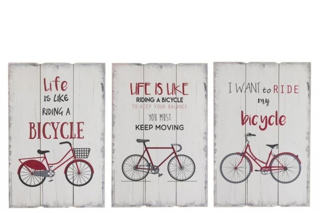 Produktové foto J-Line by Jolipa 3 dřevěné nástěnné cedule Bicycle - 40*2*60 cm