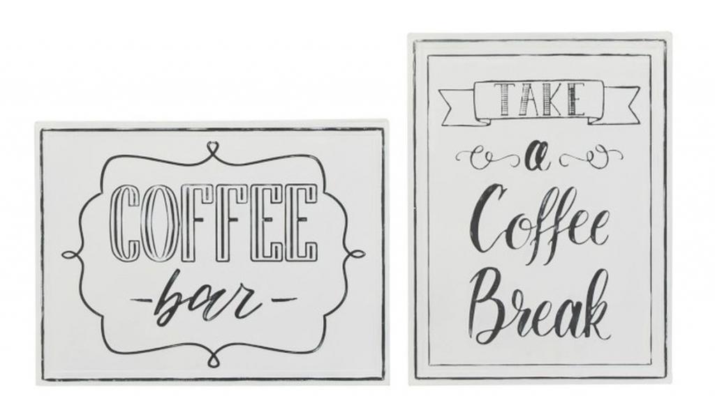 Produktové foto J-Line by Jolipa 2 nástěnné kovové cedule Coffee - 34*4*46 cm