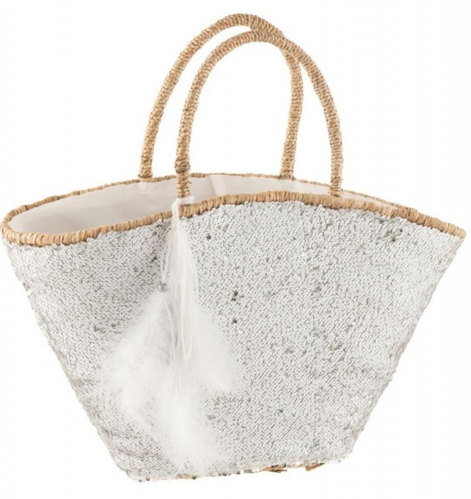 Produktové foto J-Line by Jolipa Bílá plážová taška s flitry a peříčky Sequins - 50*27*30cm