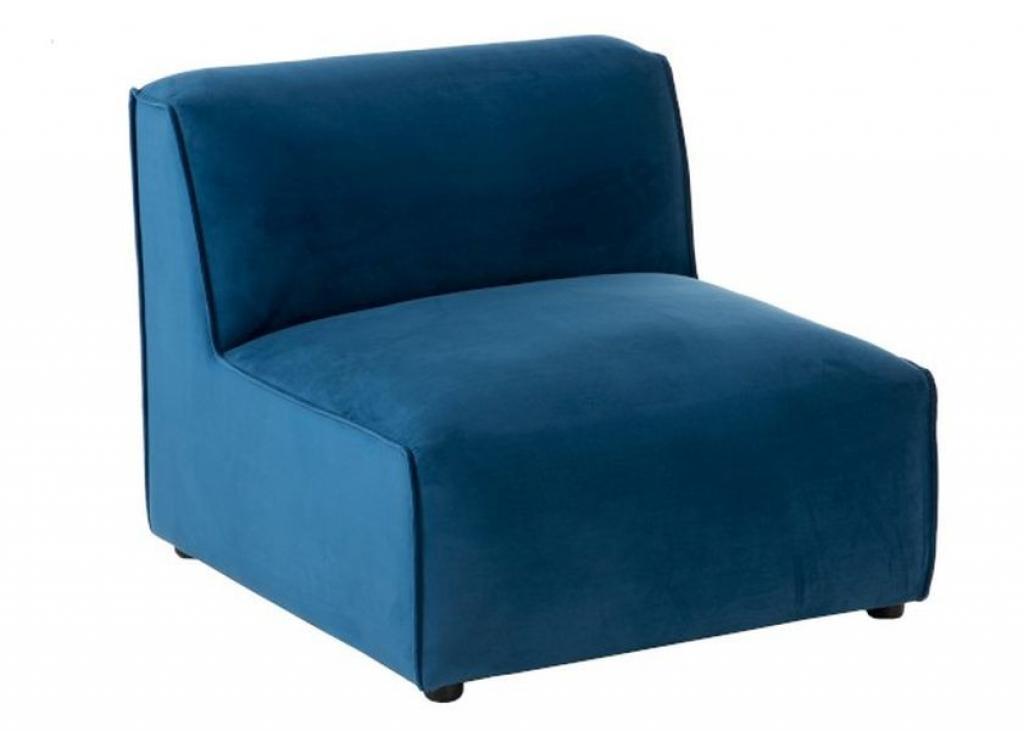 Produktové foto J-Line by Jolipa Modrá 1-místná sametová pohovka Maurice - 80*90*70cm