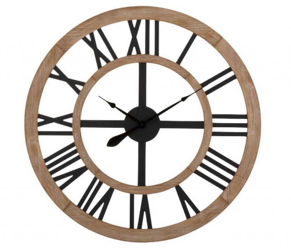 Produktové foto J-Line by Jolipa Dřevěné nástěnné hodiny s kovovými číslicemi - ∅90*4cm